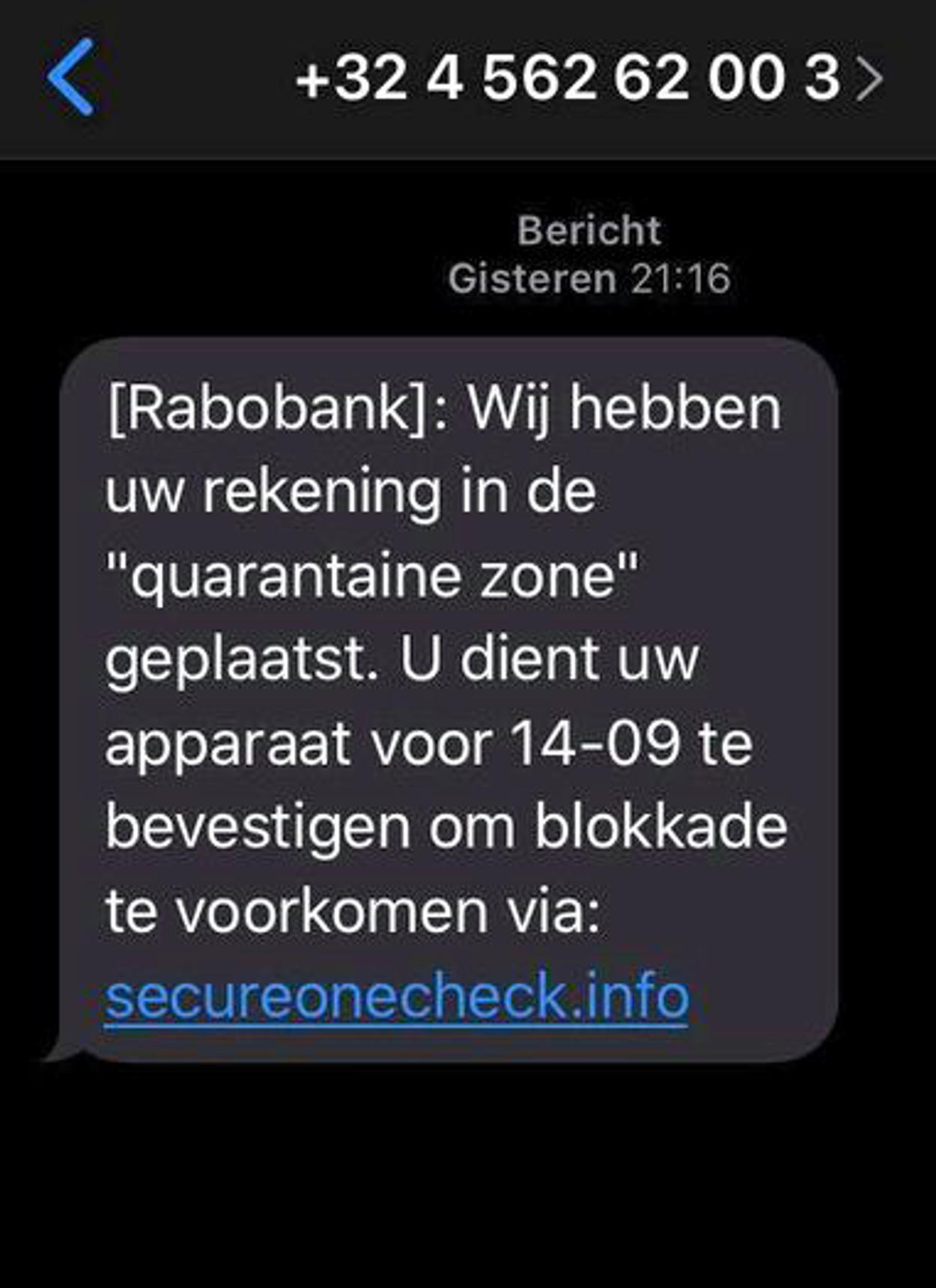 sms phishing rabobank