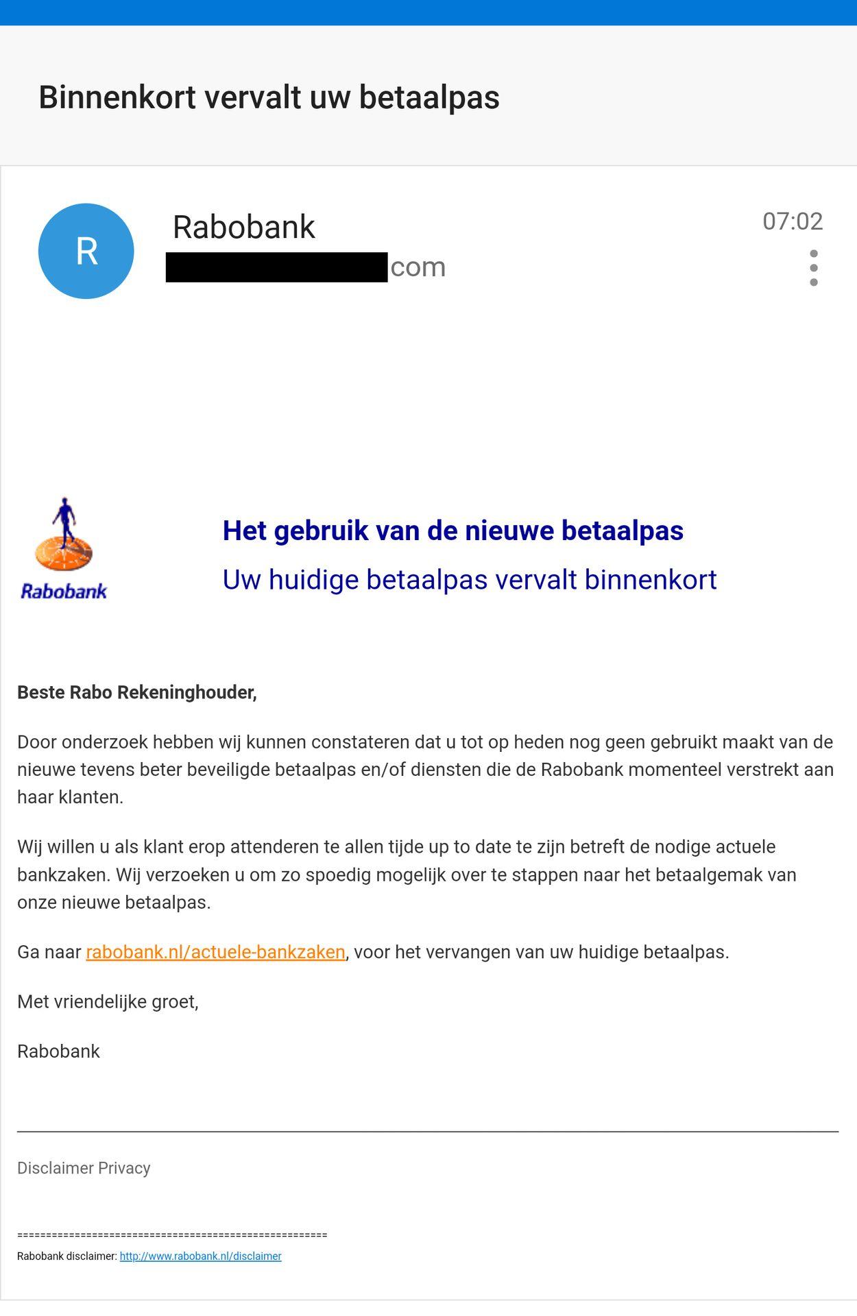 rabobank phishing betaalpas