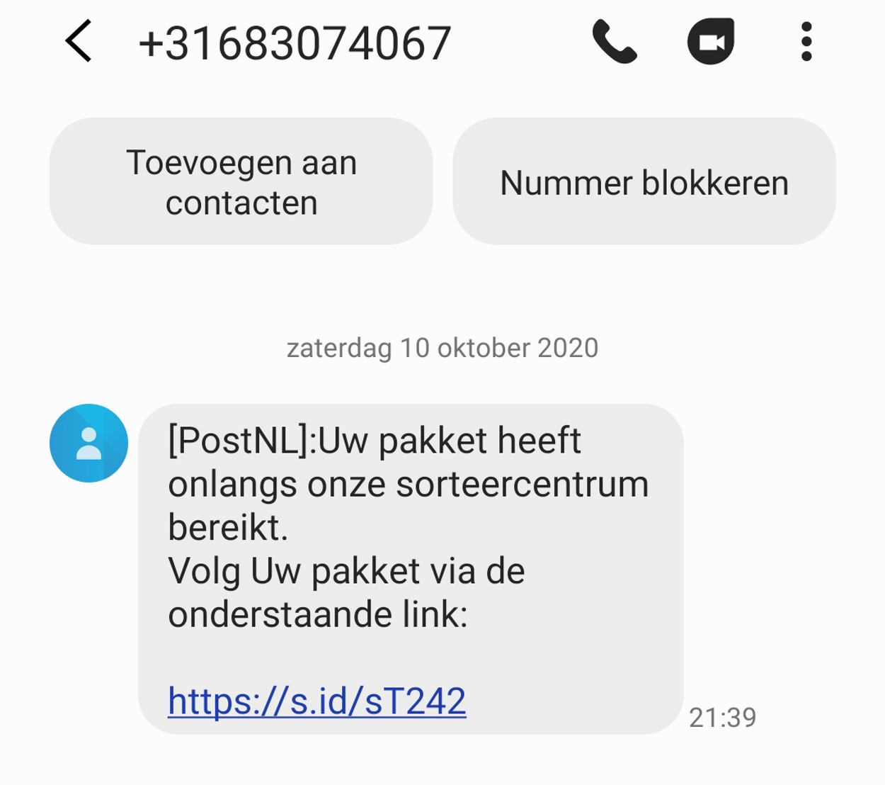 nepbericht sms postnl