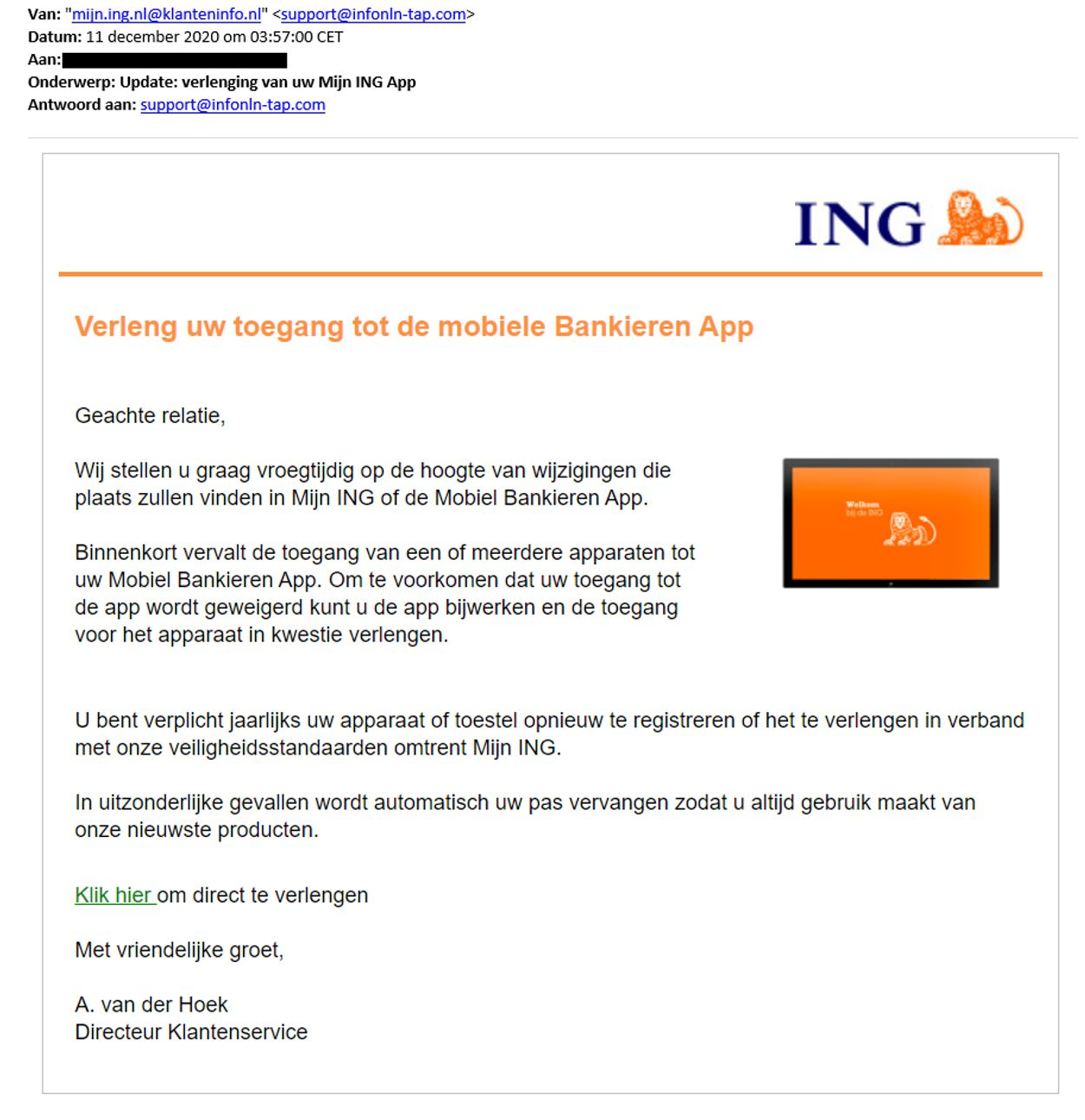 mobiel bankieren nep ing phishing