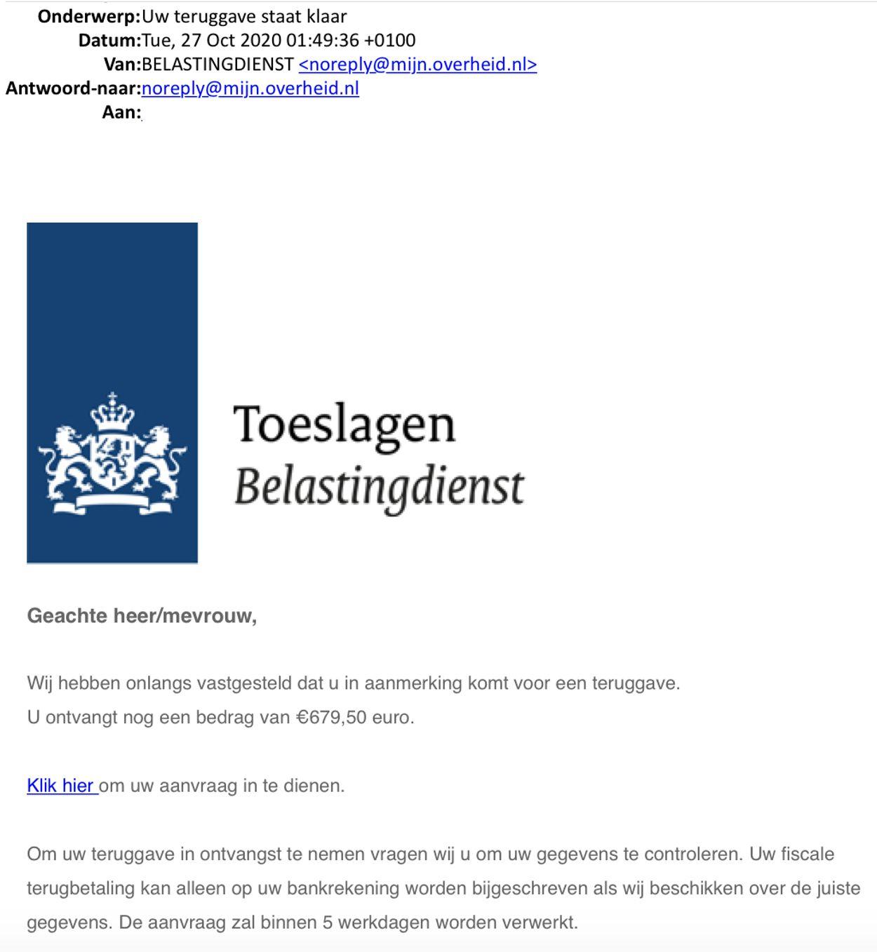 Phishingmail belastingdienst geldteruggave oktober 2020