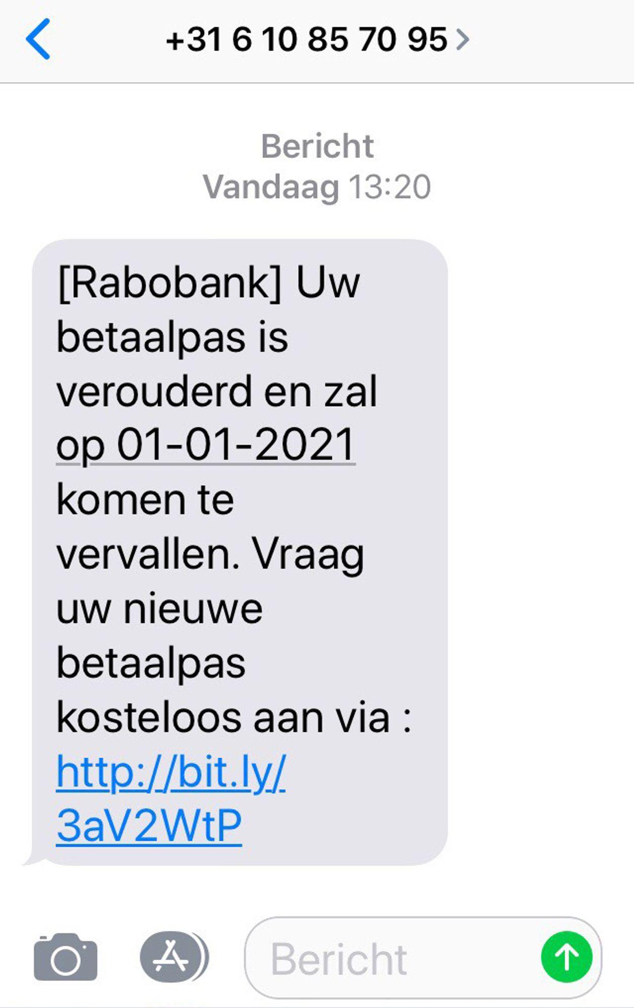 phishingsms rabo december 2020