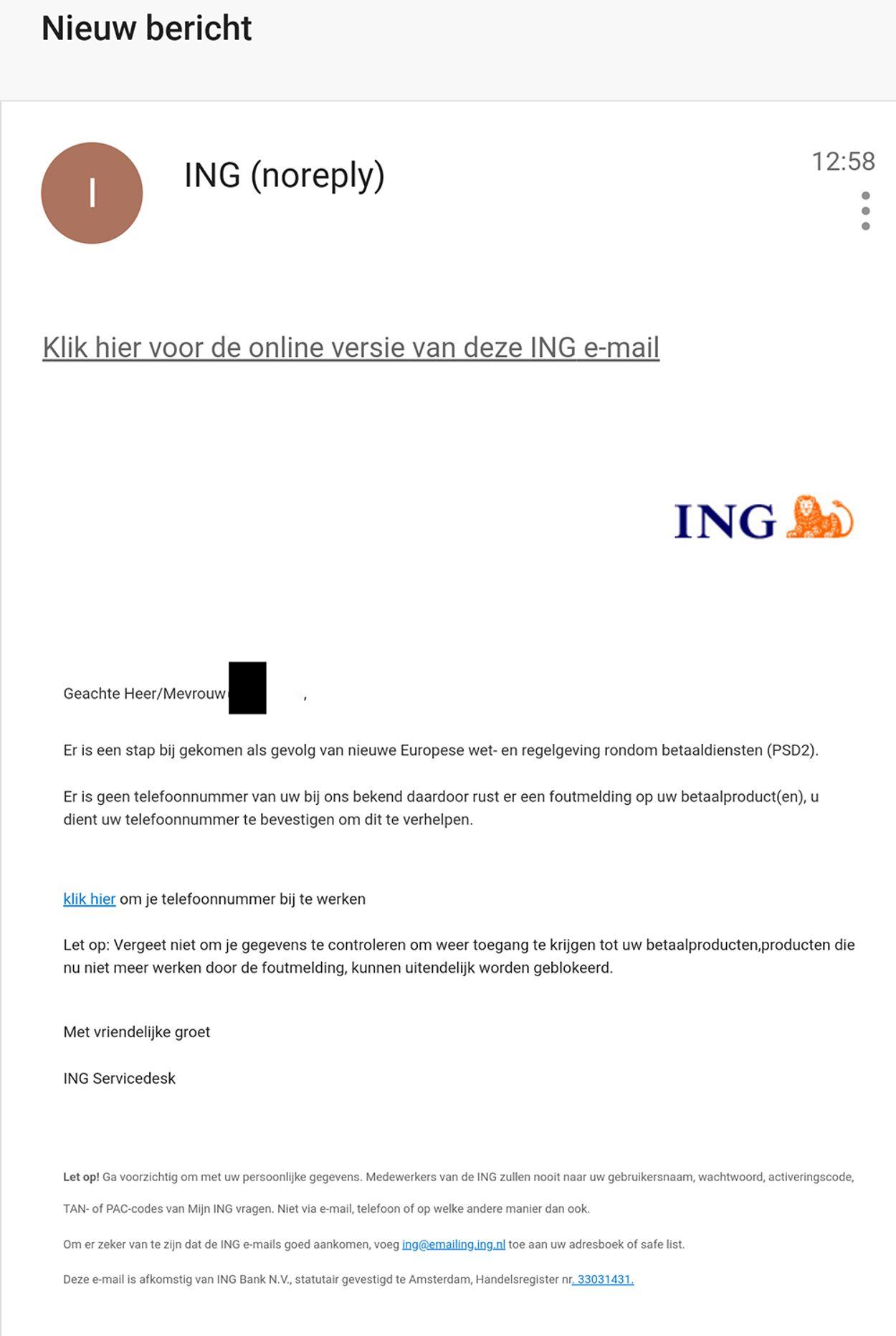 nieuw bericht ING