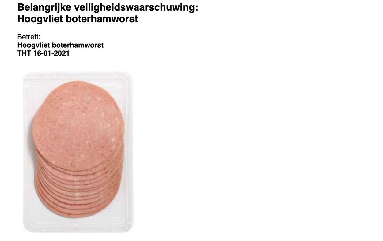 Afbeelding van Veiligheidswaarschuwing: Hoogvliet boterhamworst