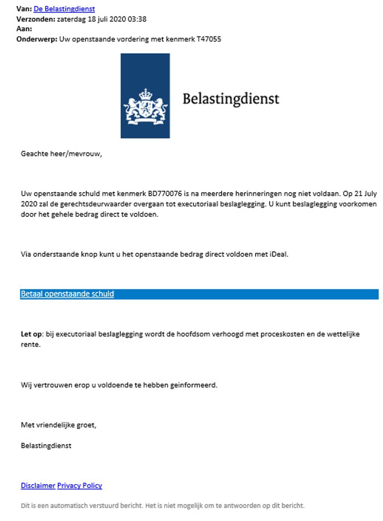 phishinmail belastingdienst 18 juli 2020_redactie