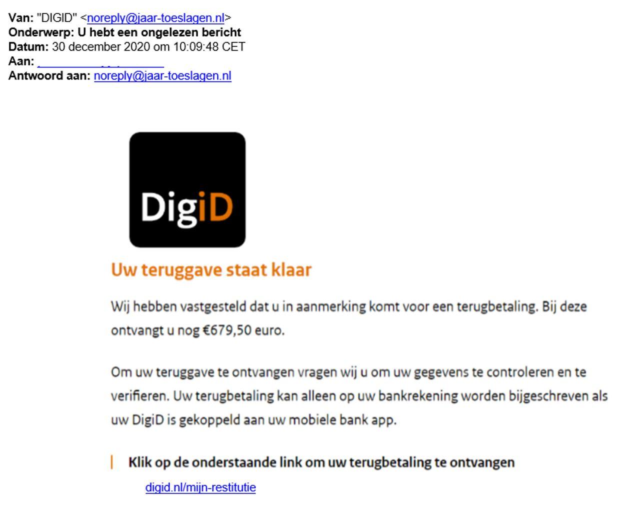 ongelezen bericht DigiD