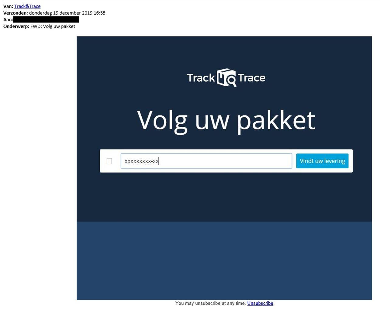 track-trace phishing