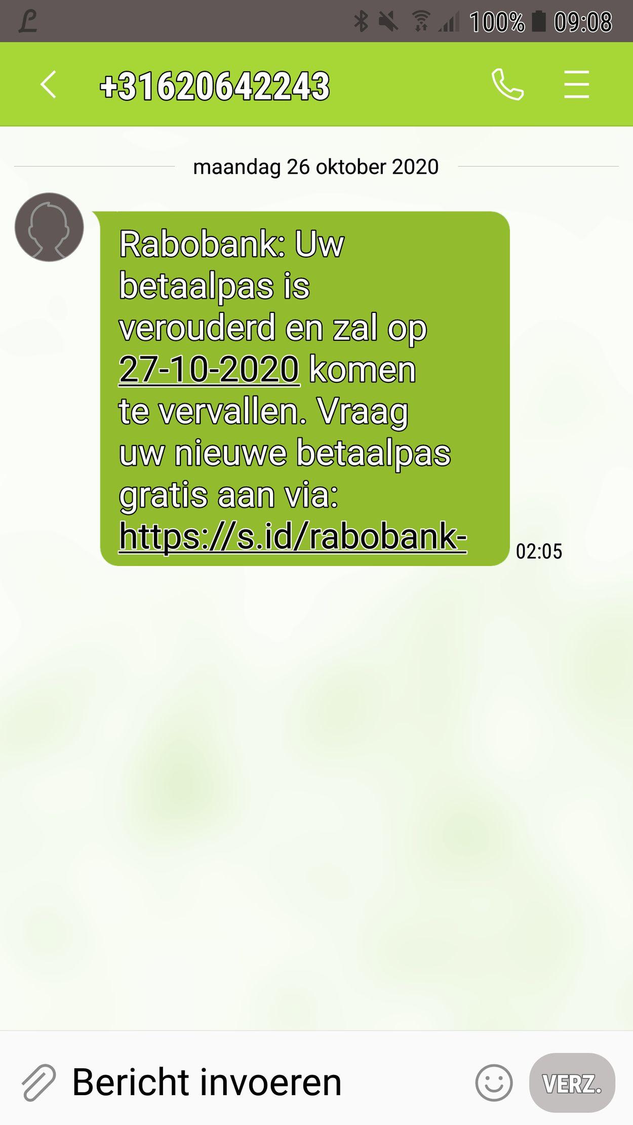 phishing sms Rabobank - okt 2020