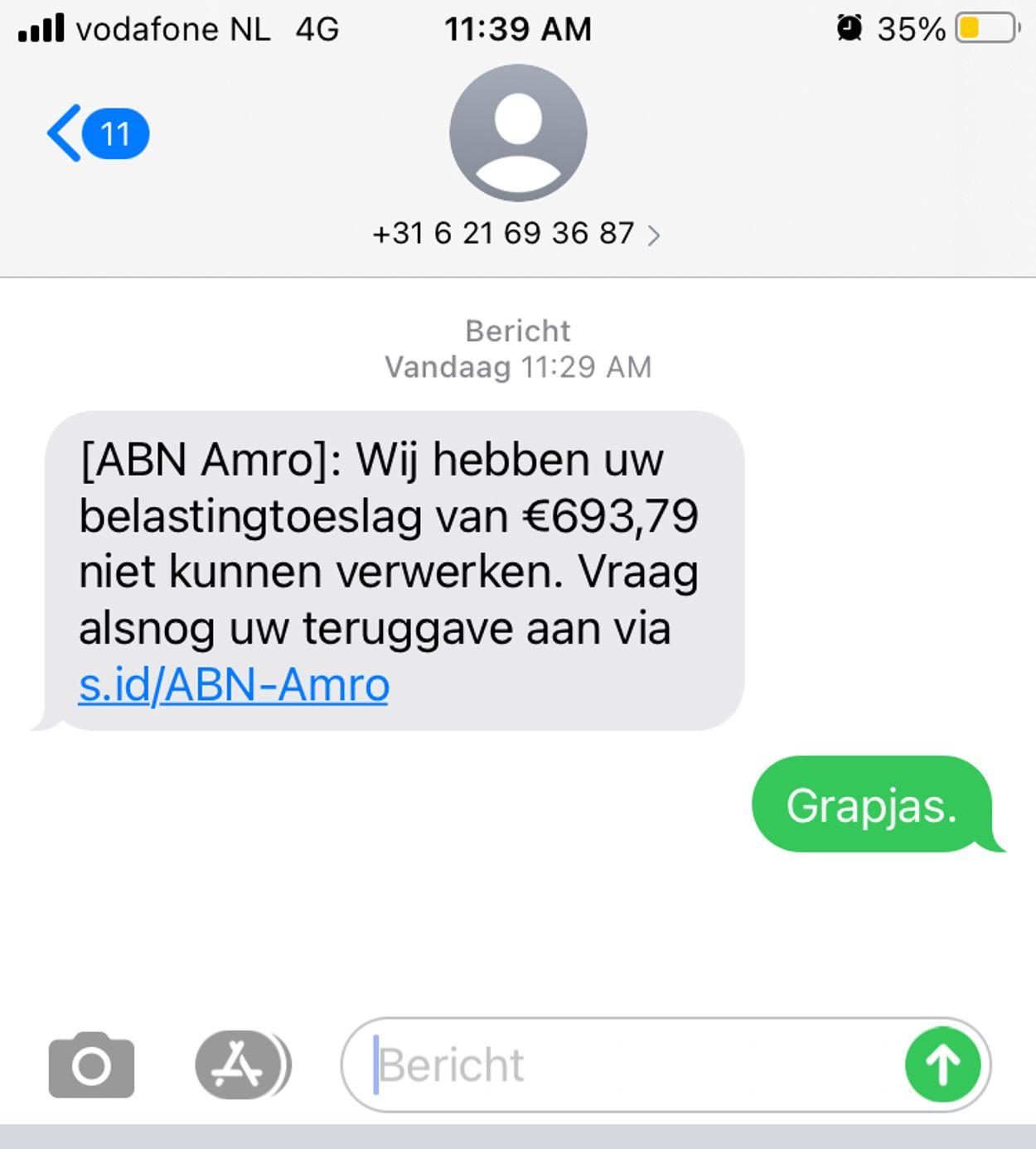 ABN AMRO phishingsms januari 2021
