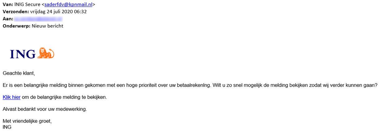 phishingmail ING 24 juli 2020