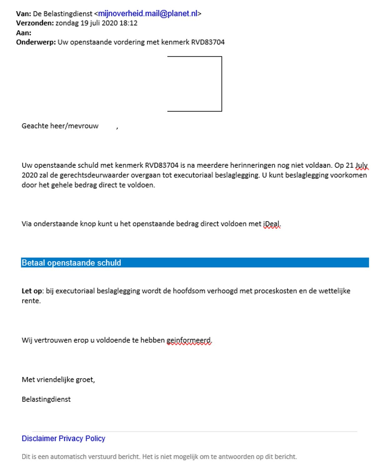 phishingmail belastingdienst juli 2020