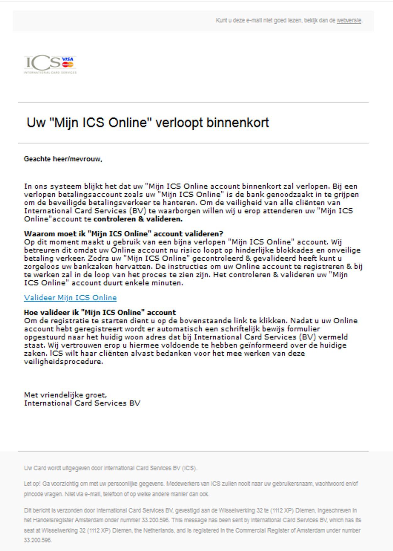 phishignmail ICS 3 augustus 2020