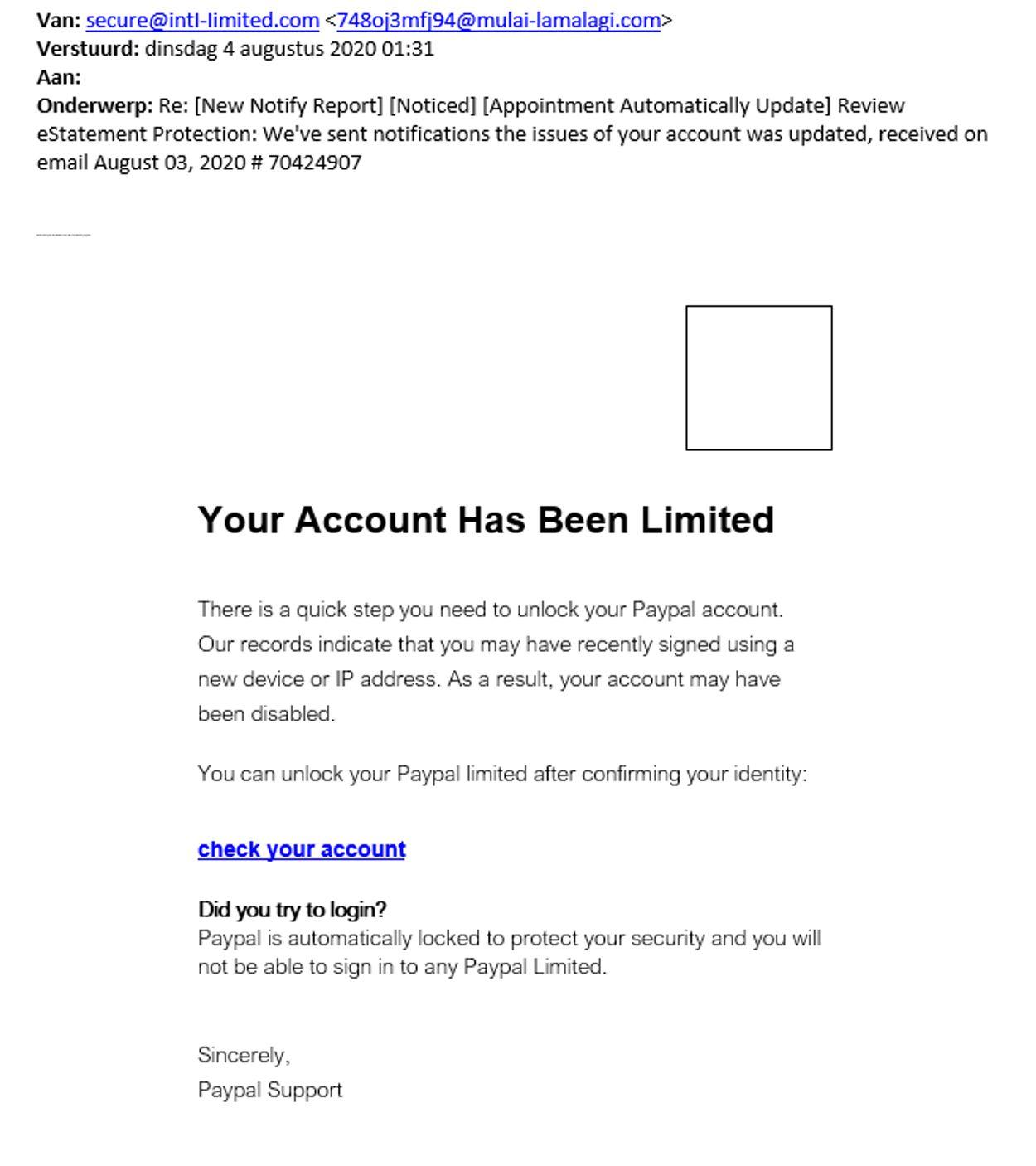 phishingmail paypal 4 augustus 2020