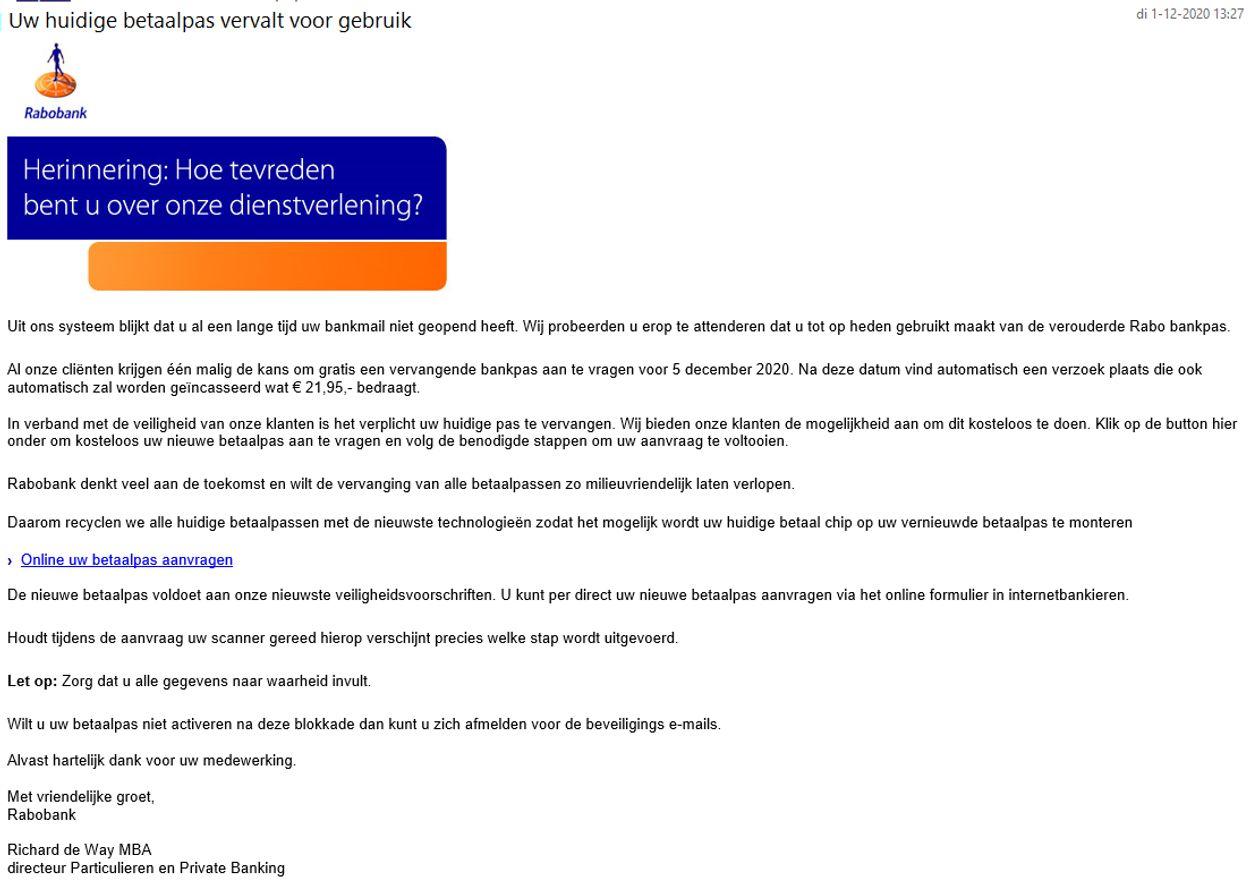 Uw huidige betaalpas vervalt rabobank phishing
