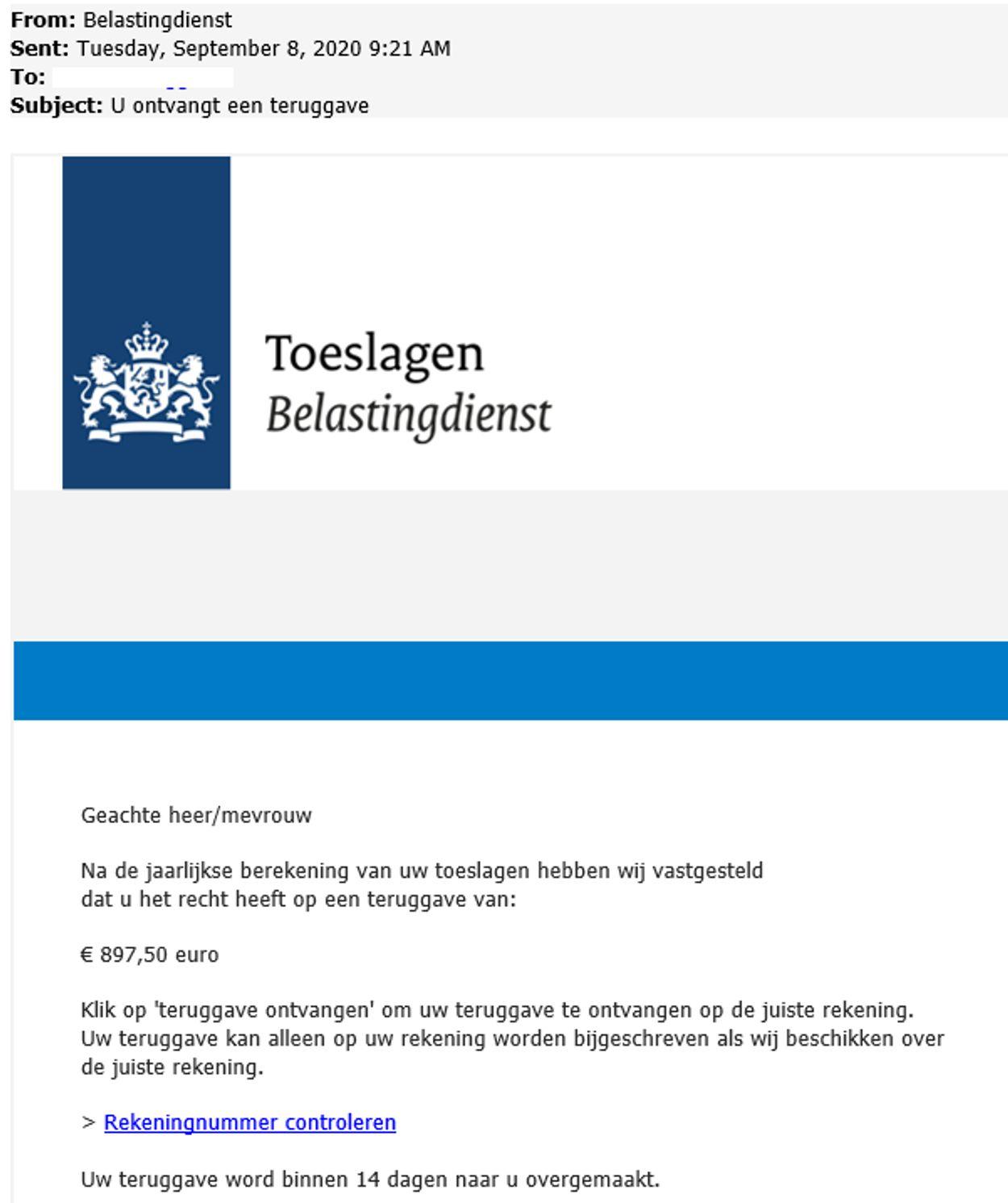 teruggave toeslagen Belastingdienst phishing