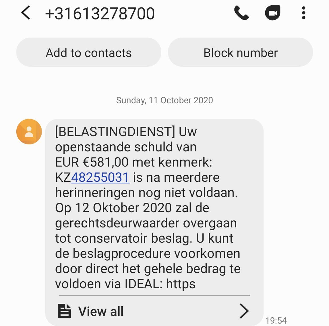 schuld sms Bdienst phishing