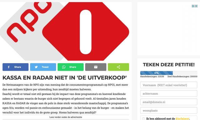 Afbeelding van Teken de petitie tegen de 'uitverkoop van Kassa en Radar'